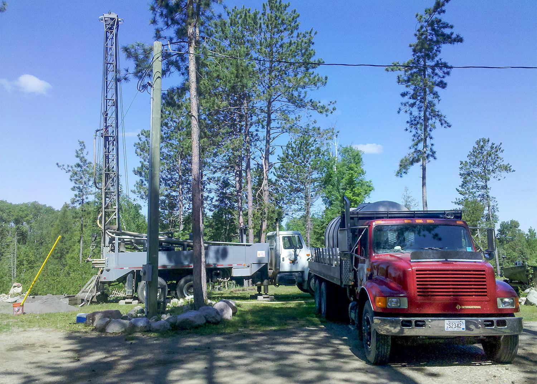 Tiller trucks from Antler's Well Drilling